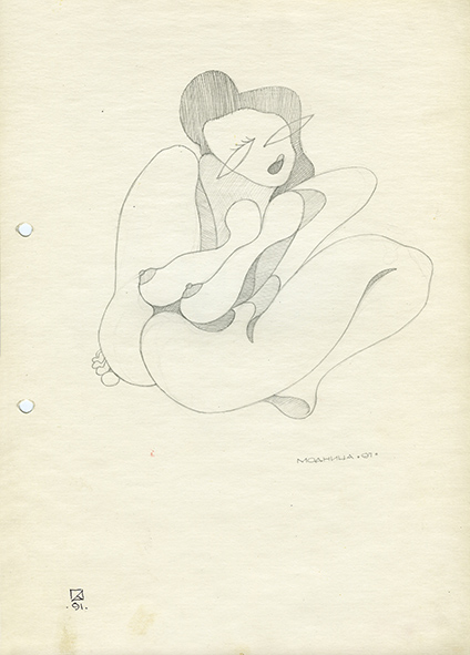 Woman of Fashion. 1991. Pencil on paper  30 х 21