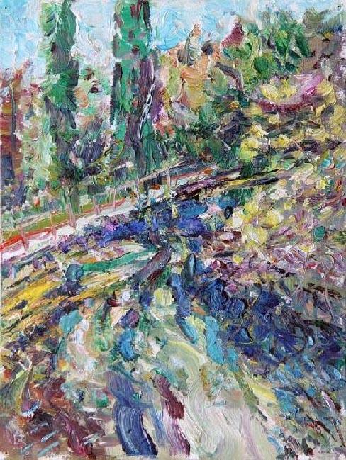 Miramare. Pond. 2011. Oil on canvas, cardboard. 40 х 30