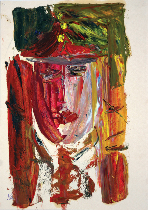Two Heroes I. Diptych. 2005. Oil on colored paper. 30 х 21