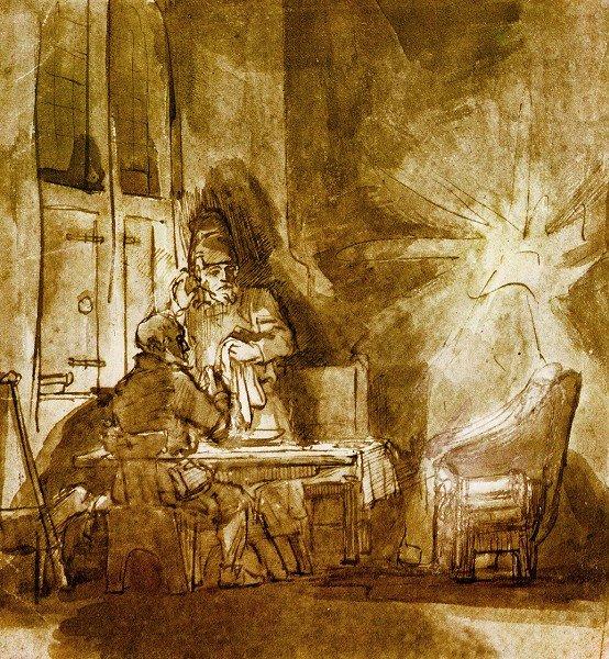 Desaparición de Cristo en Emmaus, Rembrandt van Rijn, tinta y sepia.