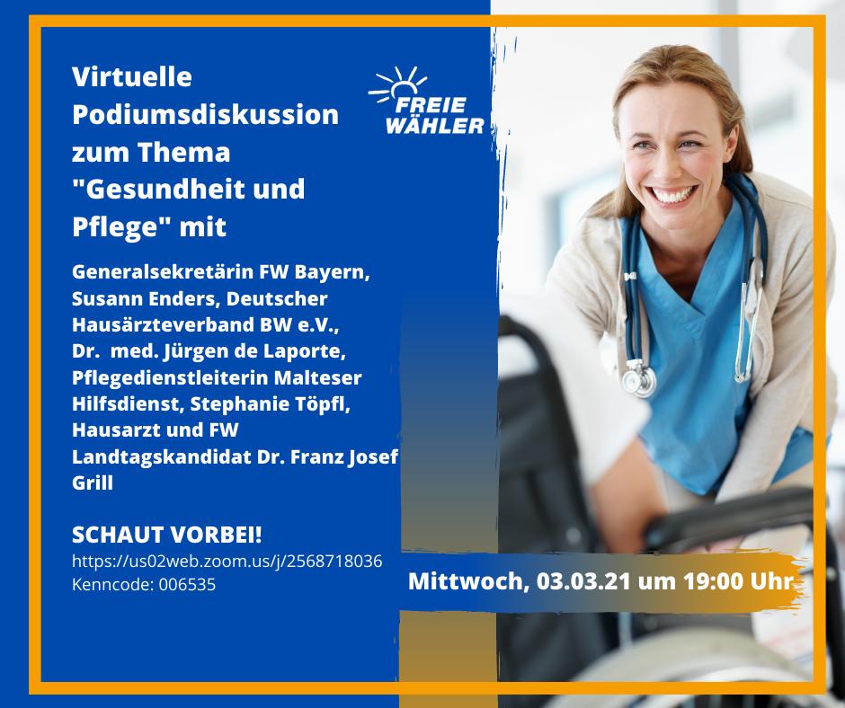"""Podiumsdiskussion mit Franz Josef Grill - Thema """"Gesundheit und Pflege"""""""