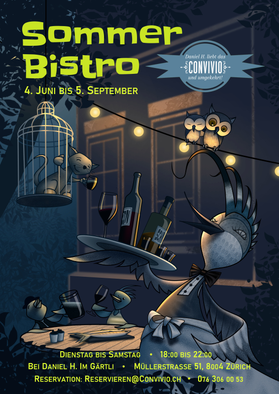 Bild mit Disco-Vögeln im Sommer-Bistro