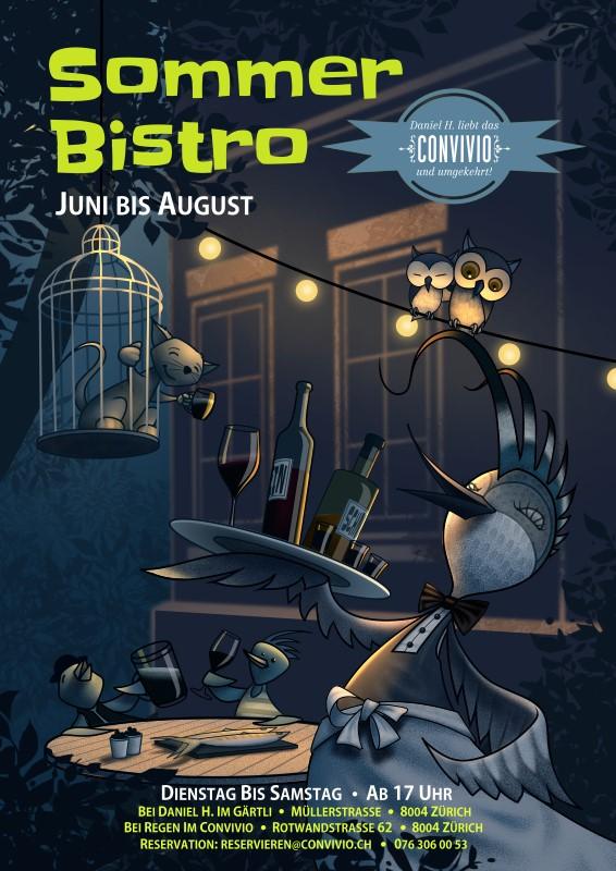 schräge Vögel geniessen den Sommerabend im Bistro