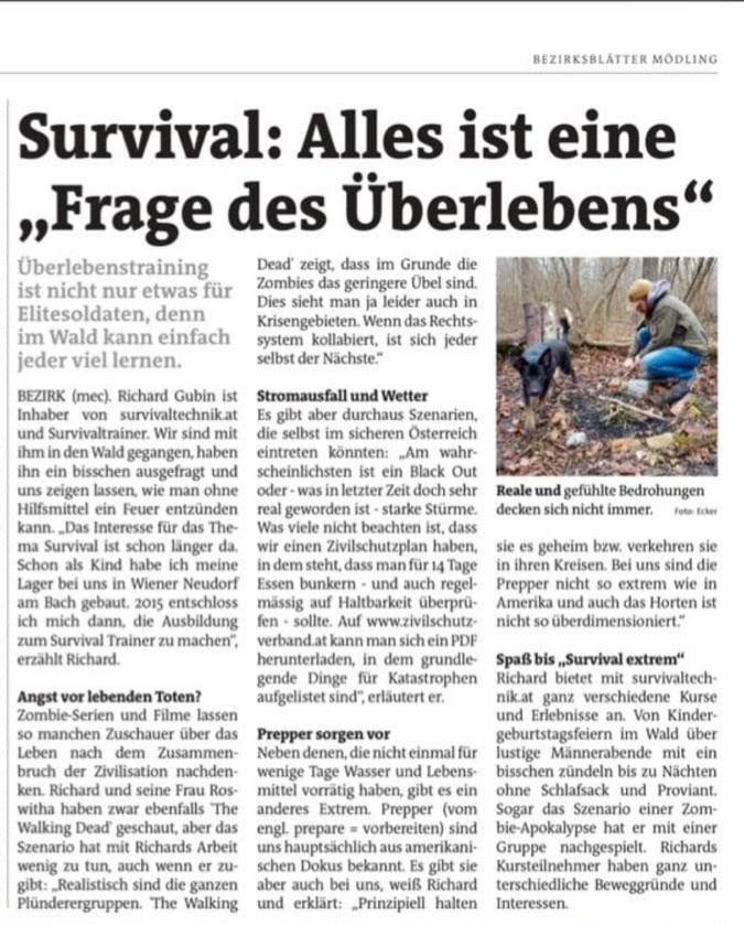 Survivaltechnik in der Jänner-Ausgabe von Bezirkblätter Mödling