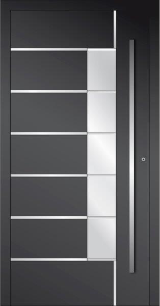 Porta d'ingresso in alluminio vetrata con inserti in acciaio