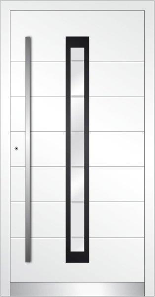 Portoncino con fresature orizzontali e vetro inserito