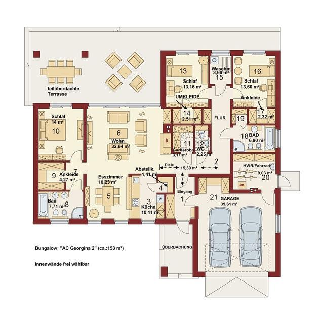 Bungalow mit integrierter doppelgarage  Bungalows - CASA NOVA Massivhaus