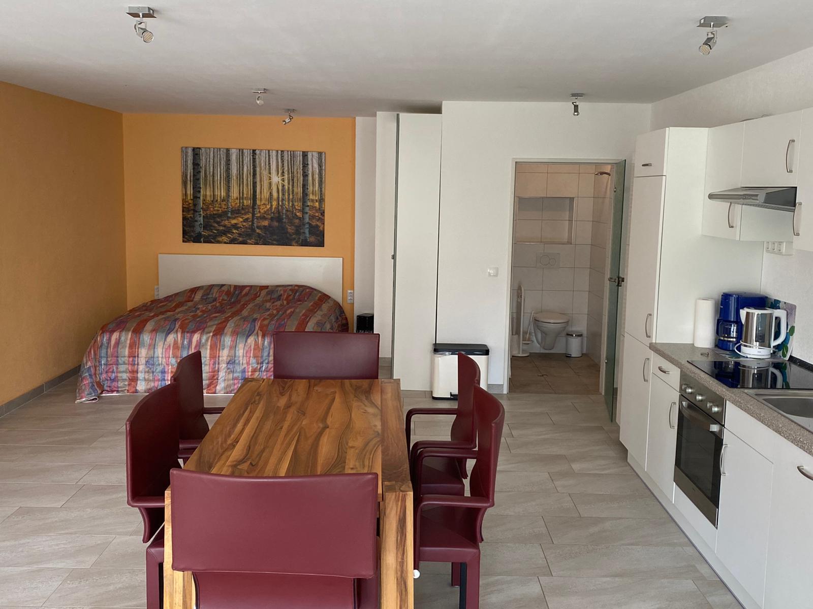 Blick auf Doppelbett, Küche, Badezimmer