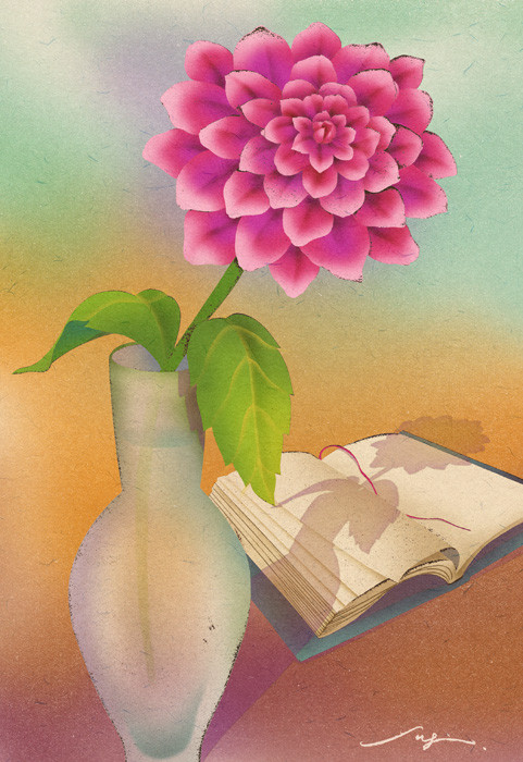 a dahlia and a half-read book 一輪のダリアと読みさしの本