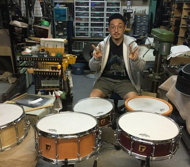 """松下マサナオ [Yasei Collective]   Custom.Maple 15ply / 14""""x4.5"""" , 14""""x4.75"""" , Maple 10+8ply / 13""""x6.35"""" , Brushed Aluminum / 14""""x6"""" , Black Nickel Brass / 14""""x4"""" SD"""