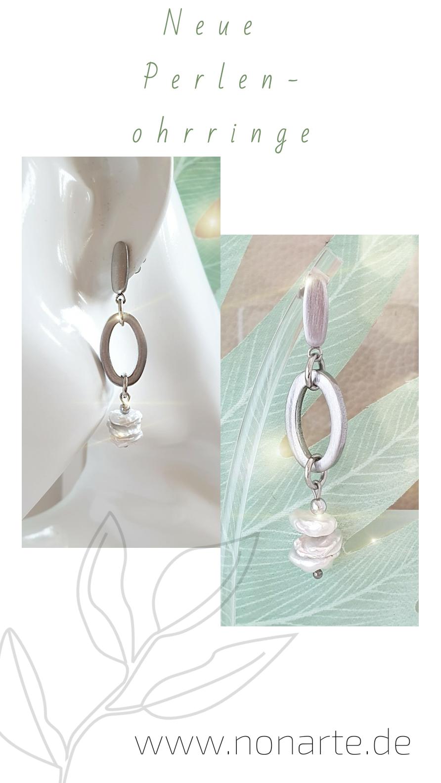 Lange Ohrringe mit Perlen