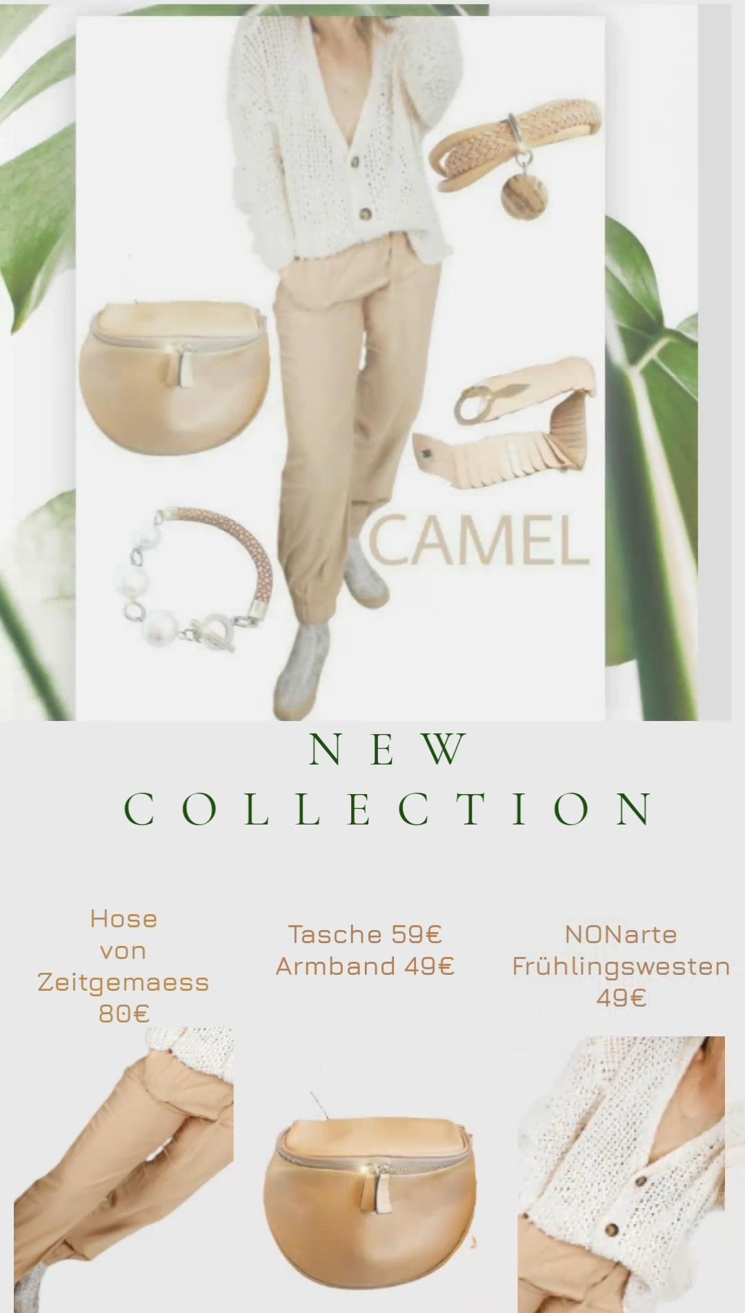 Taschen, Gürtel, Schals und Schmuck in der Trendfarbe Camel