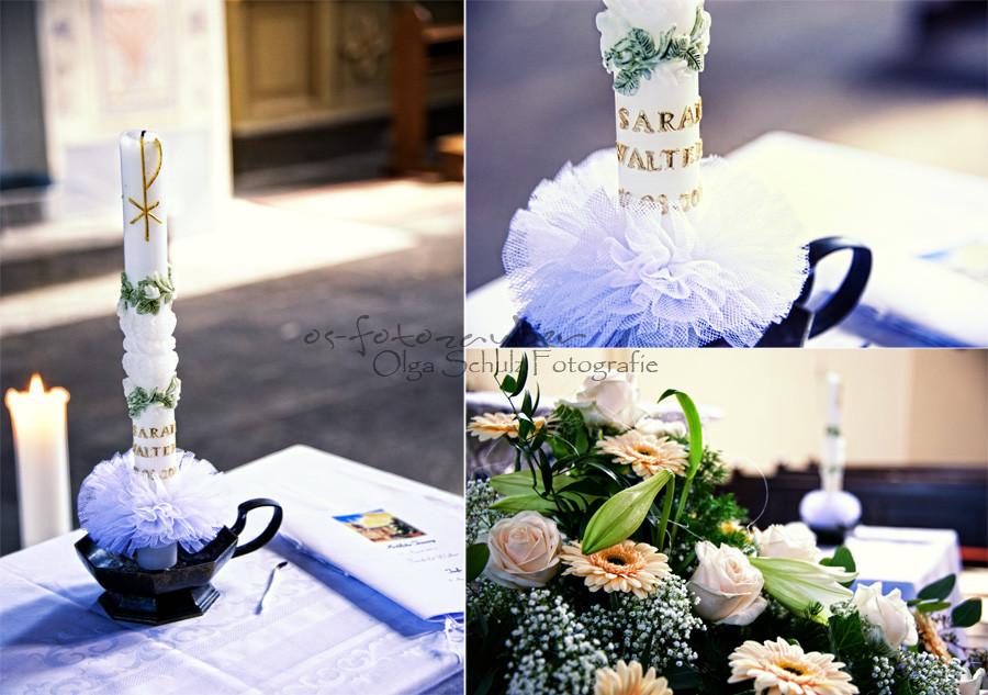 Blumendekoration, Hochzeitskerze, Kirche, Trauung