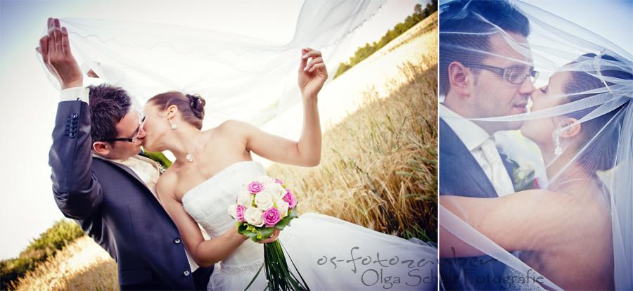 Brautpaar, Hochzeitsreportage, Brautstrauß, Kuss, Brautpaarshooting Koblenz