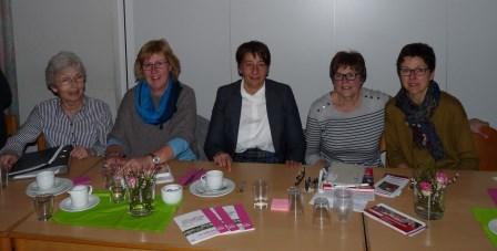 Am Vorstandstisch saßen (von links) Elke Clever, Martina Weiler, Ute Velten, Brigitte Escher und Antje Berg. (Foto: B. Negel-Täuber)