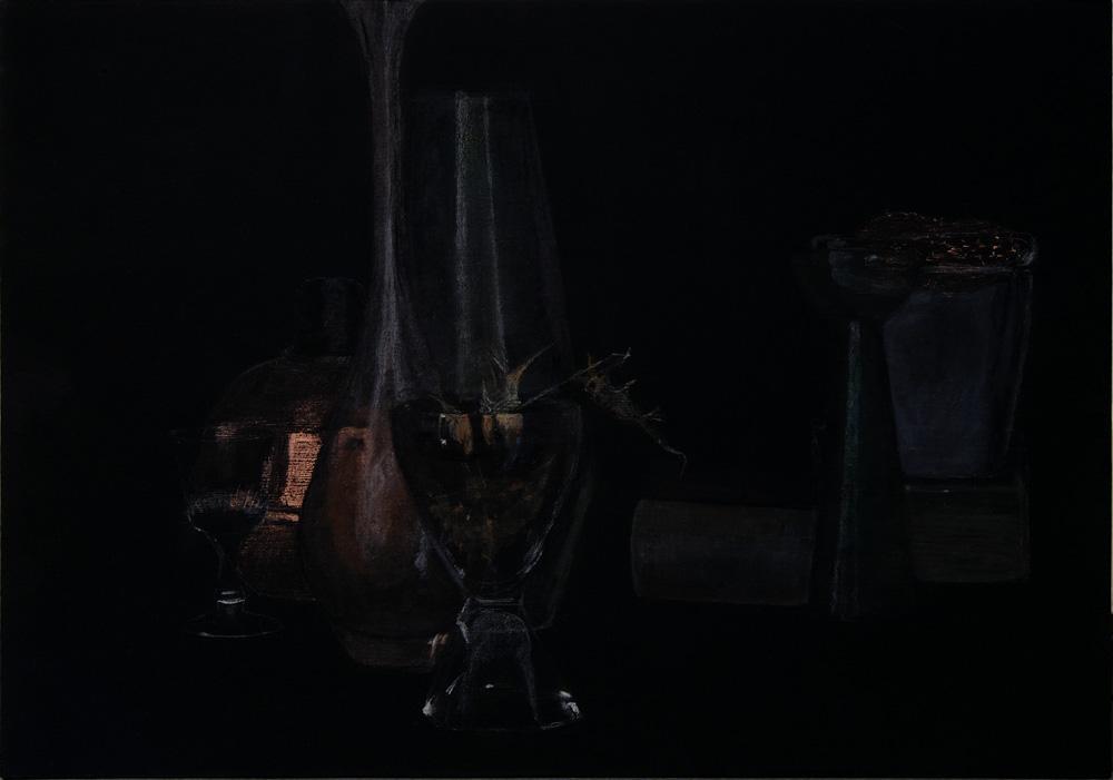 """Stillleben mit Kupferkugel"" 29,5 x 42,0 cm, Acryl u. Polychromos auf MDF, 2016"