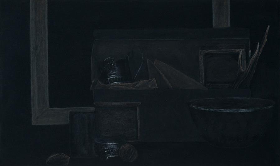 """""""Stillleben mit Geweih"""" 50,0 x 30,0 cm, Acryl u. Polychromos auf MDF, 2017"""