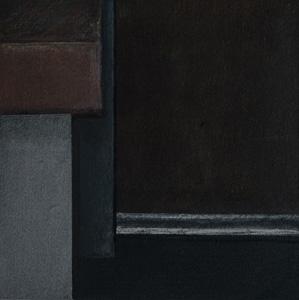 """black box abstrakt 1 / V"" 2018, 13,0 x 13,0 cm, Acryl u. Polychromos auf MDF"