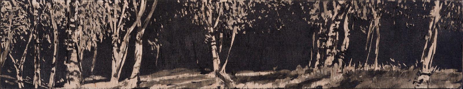 """Sonnenbirken"" 2014, 42x8cm, Acryl auf Holz, Holzschnitt"