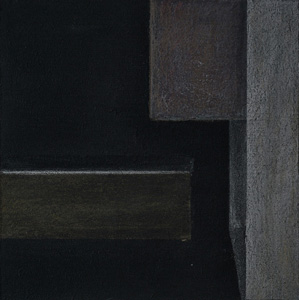 """""""black box abstrakt 1 / III"""" 2018, 13,0 x 13,0 cm, Acryl u. polychromos auf MDF"""
