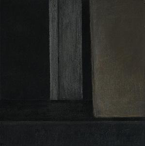 """black box abstrakt 1 / I"" 2018, 13,0 x 13,0 cm, Acryl u. Polychromos auf MDF"