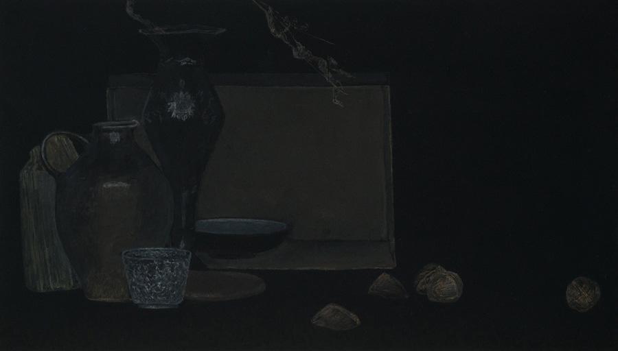"""""""Stillleben mit Nüssen"""" 55,5 x 32,0 cm, Acryl u. Polychromos auf MDF, 2017"""