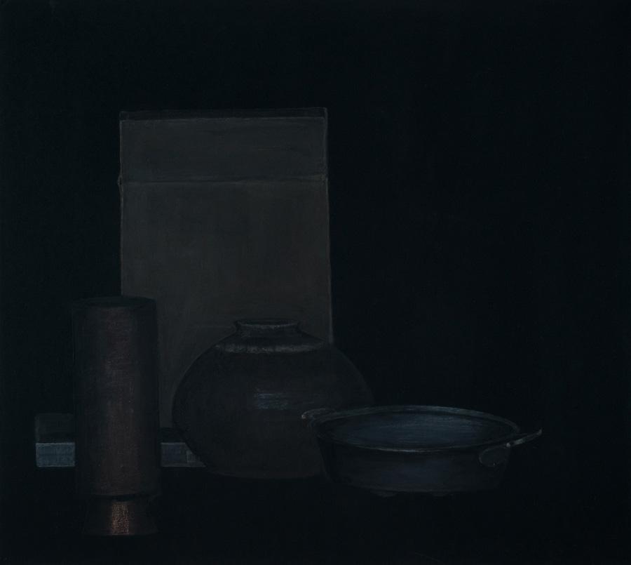 """Stillleben mit antikem Eierkocher"" 45,0x50,0cm, Acryl u. Polychromos auf MDF, 2017"