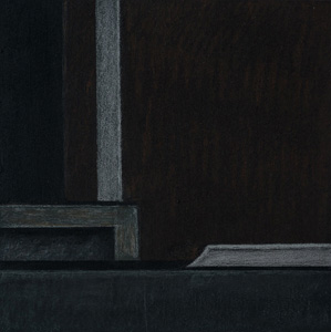 """black box abstrakt 1 /IV"" 2018, 13,0 x 13,0 cm, Acryl u. Polychromos auf MDF"