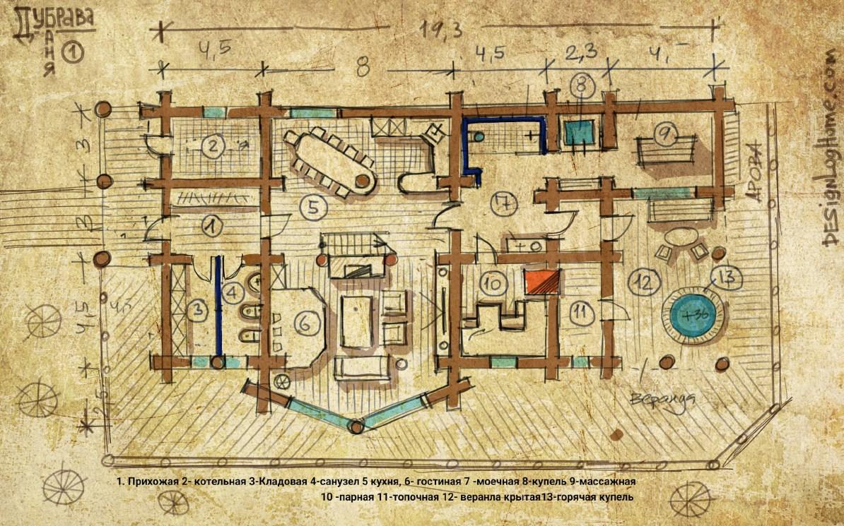 Вариант 3. План бани из кедра с гостиной кораблём