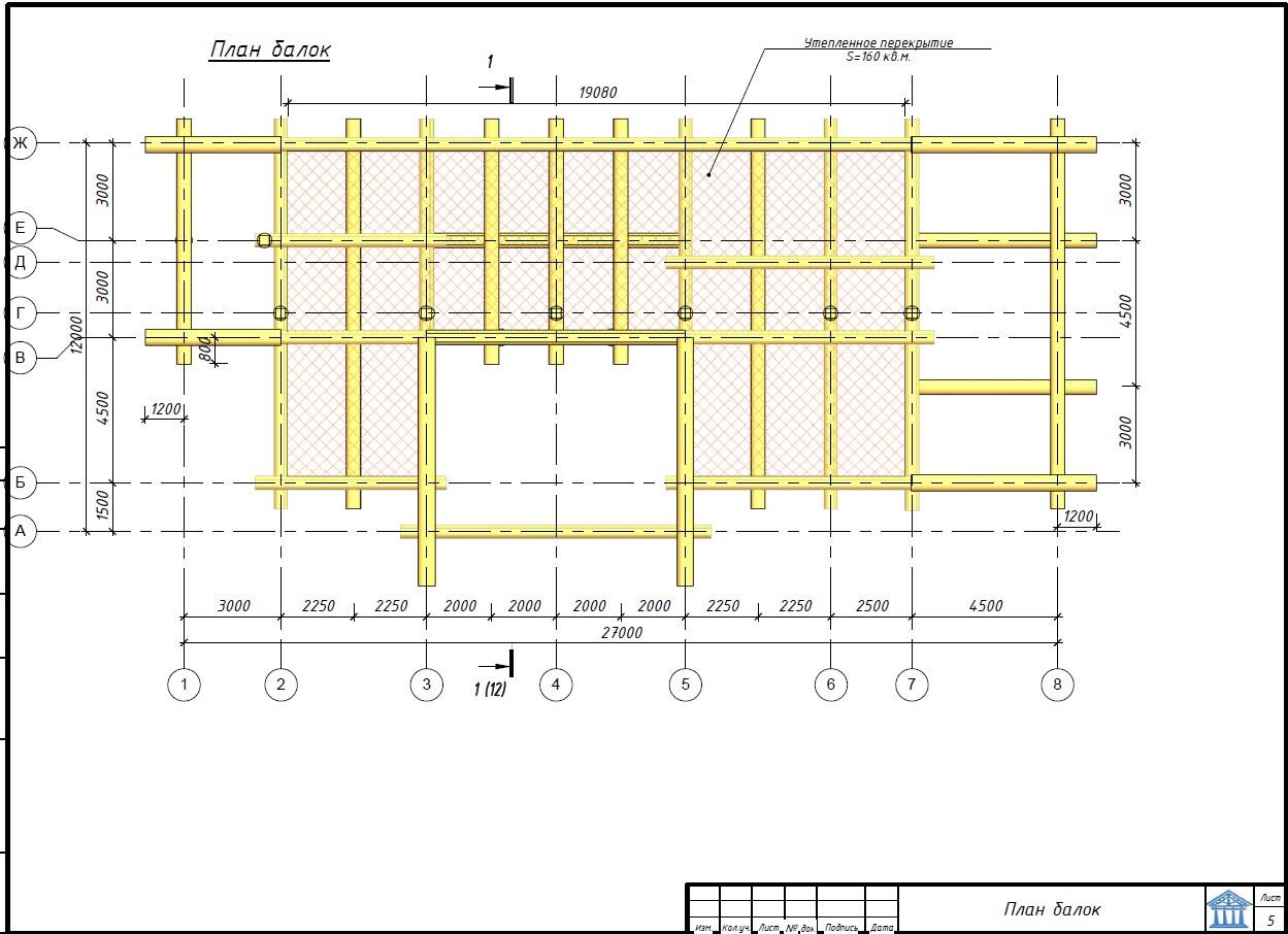 План потолочных видимых балок в бане