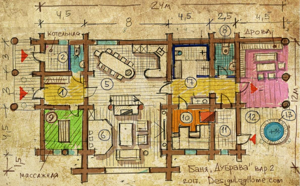 Вариант 2. План бани из кедра