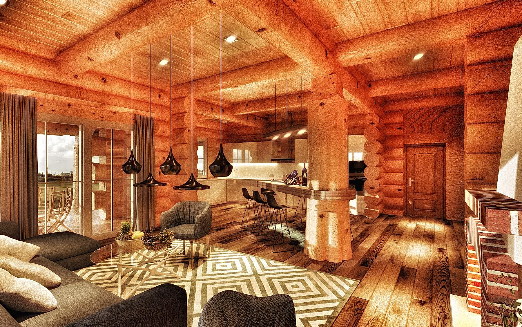 Бревенчатый дом гостиная