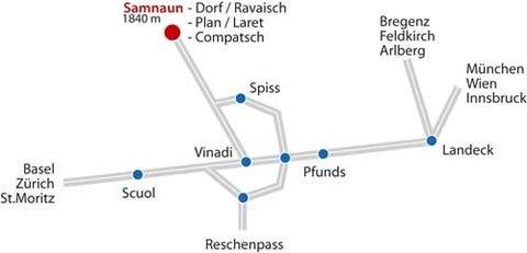 Anreiseplan Samnaun im Dreiländereck
