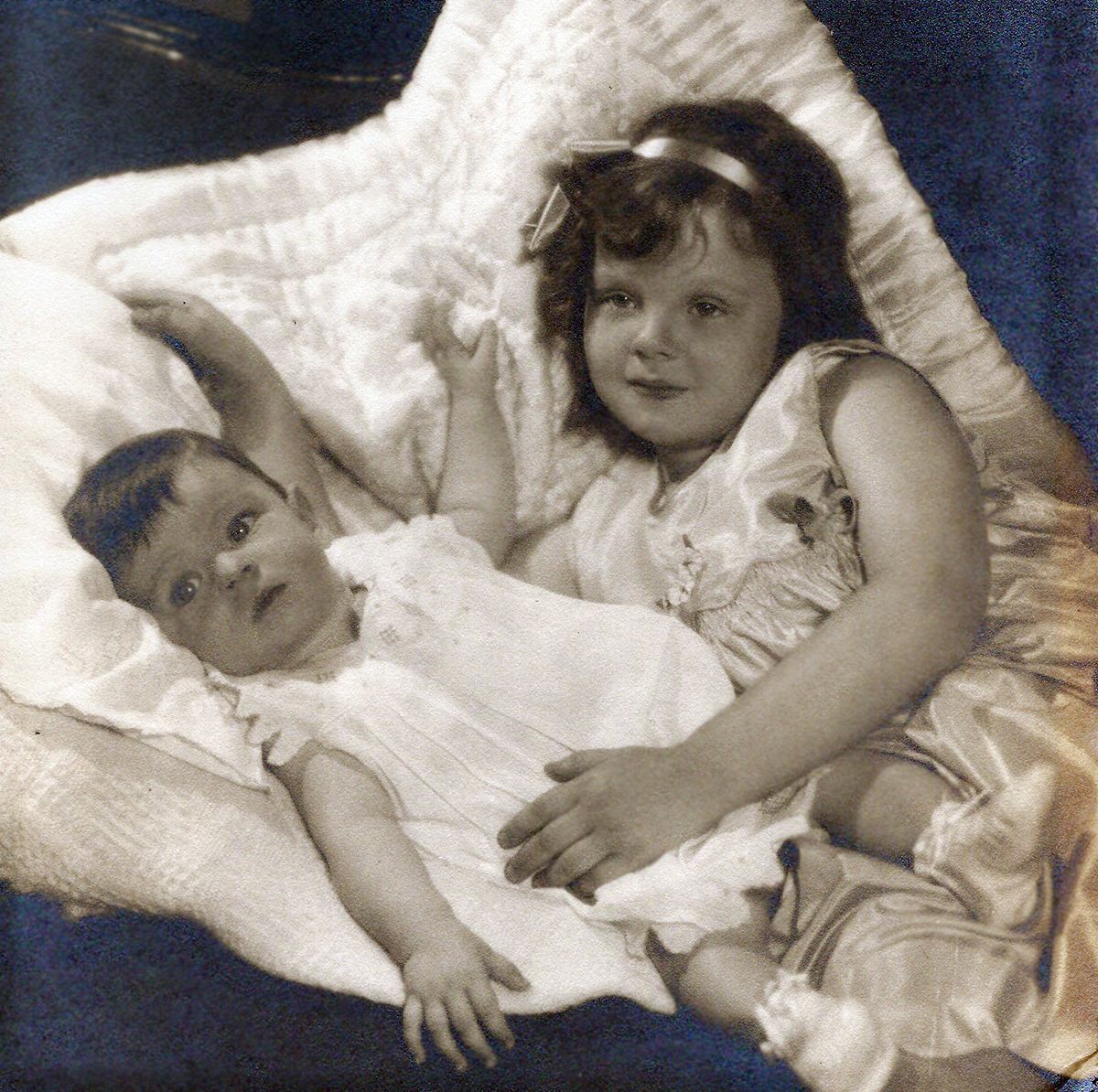 With sister Rebecca, 1932