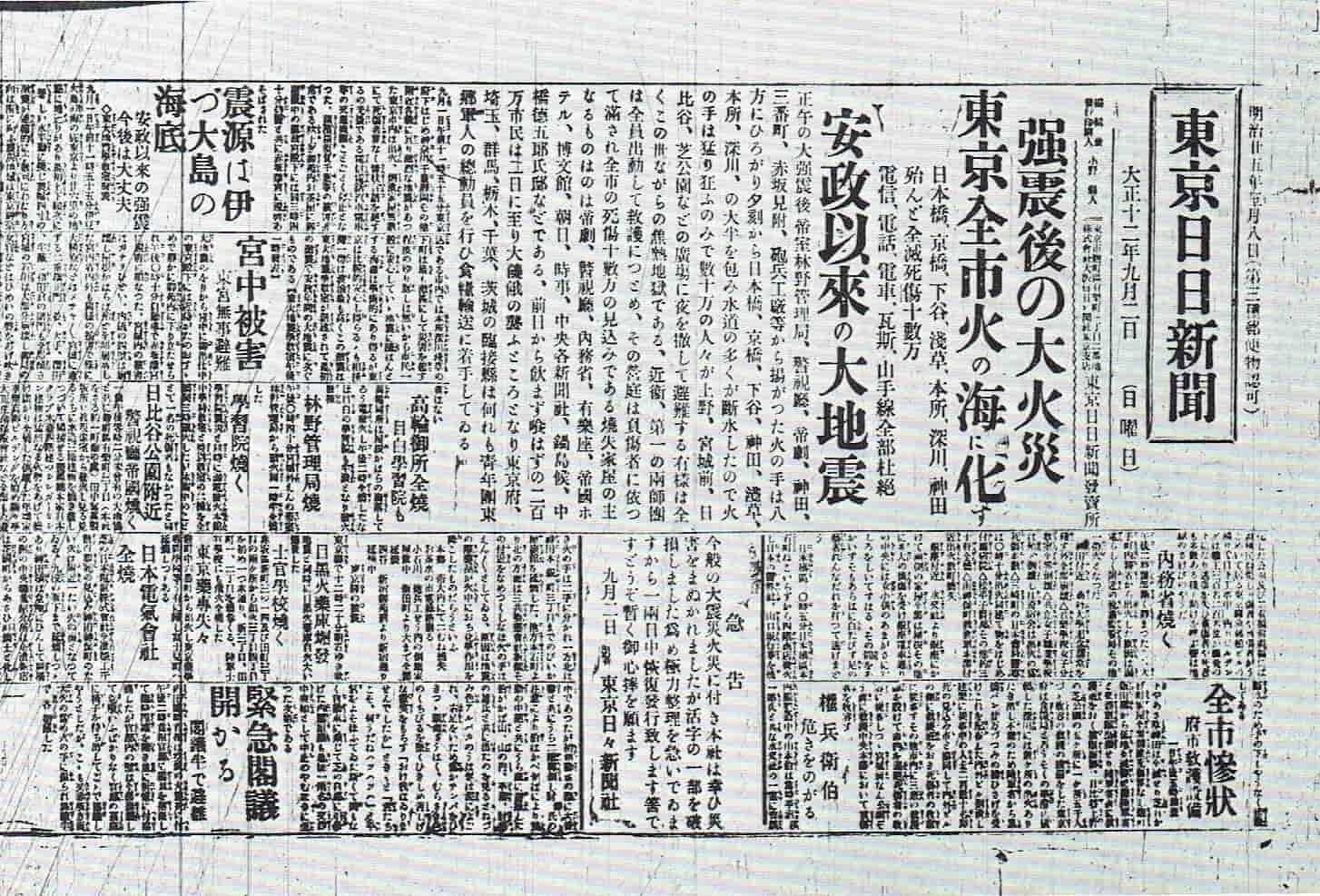 東京日日新聞とは毎日新聞の東日本地区の旧題号とのことです。