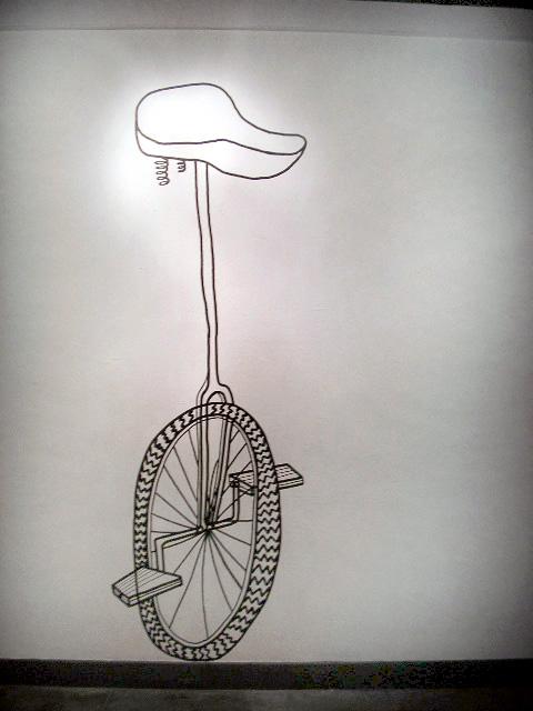 Unicycle, wall drawing