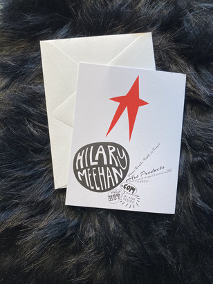 Hilary Meehan greeting card, hilary meehan art products, star, back of card