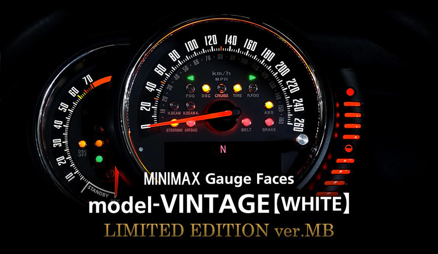model-VINTAGE(WHITE):LIMITED EDITION ver.MB/mini f56・f55 メーター 内装 パーツ