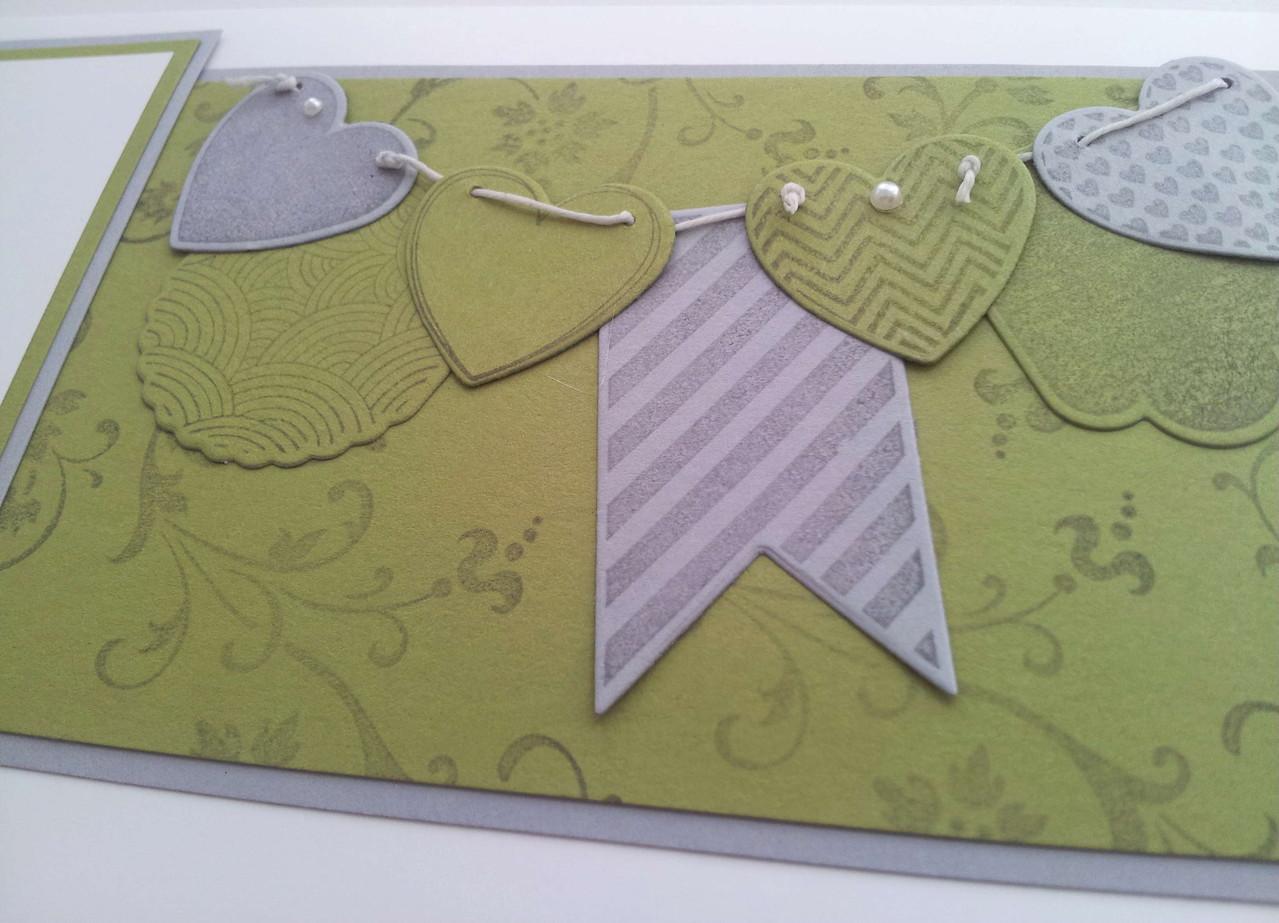 Hochzeitskarte in Farben der Einladungskarte