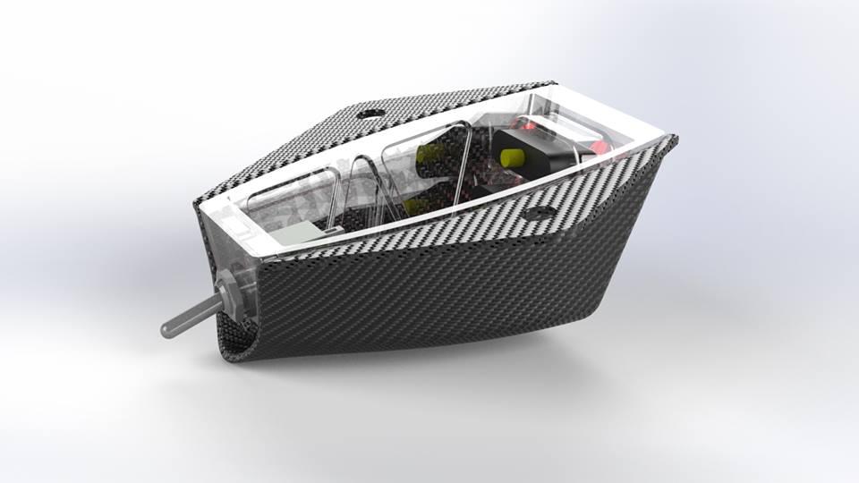 Das Rücklicht von außen mit installierten elektronischen Komponenten und Schalter