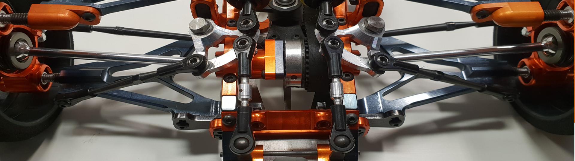 CNC-gefräste Vorderachs-Geometrie aus 7075 T6 Aluminium, eloxiert in verschiedenen Farben