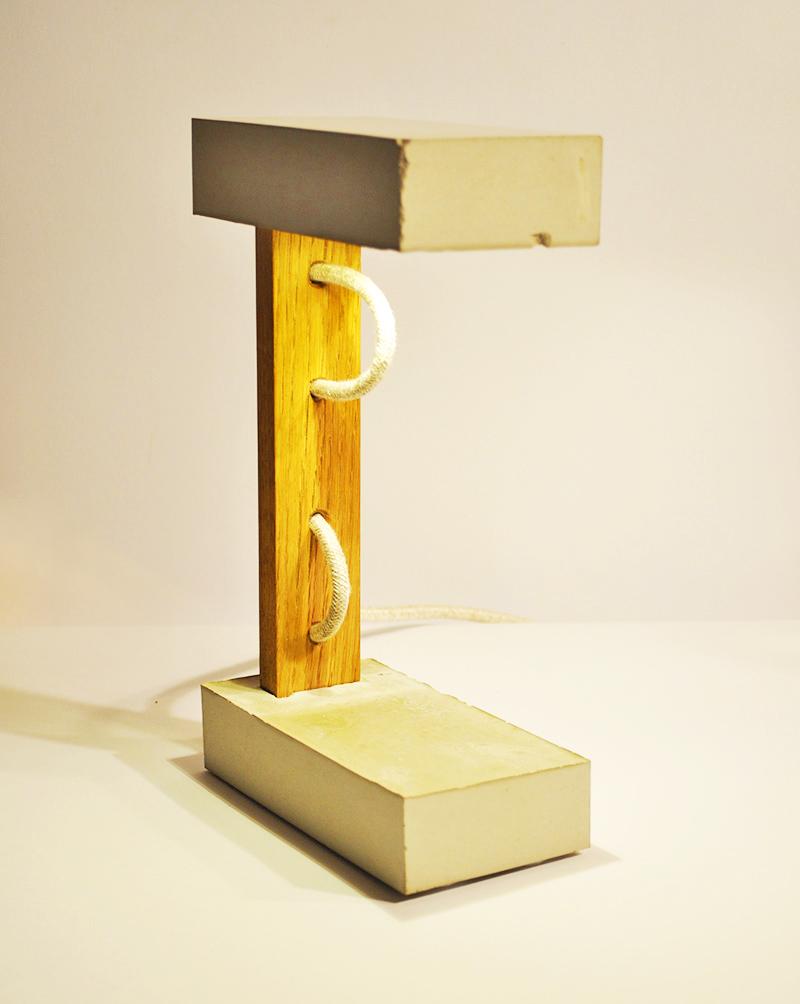 SANDWICH Tischlampe_ Eiche 27cm x 16cm x 8cm_ LED Glühbirne 15W_  LeInentextilkabel_