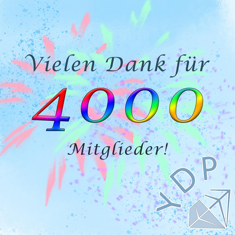 Vielen Dank für 4000 Mitglieder