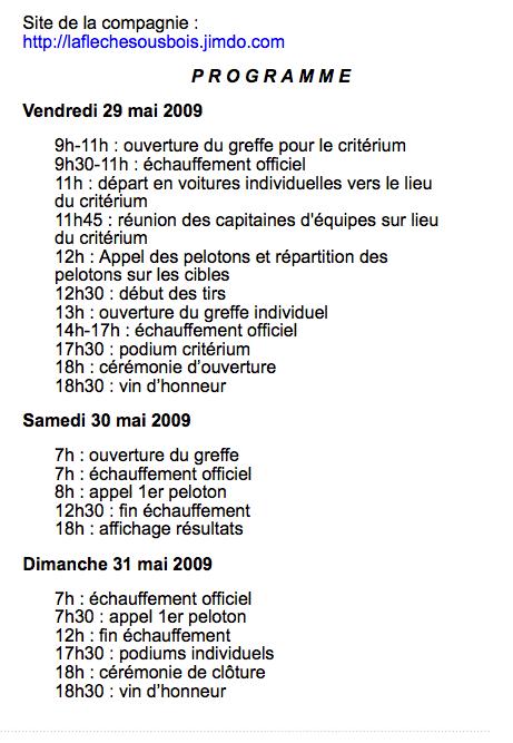 Programme, Portes les Valence, CF Nature 2009