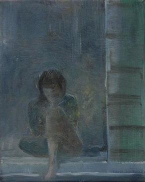 Am Fenster 2, Öl/Leinwand, 30 x 24 cm, 2018