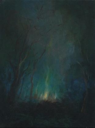 Feuerchen, Öl/Leinwand, 40 x 30 cm, 2017