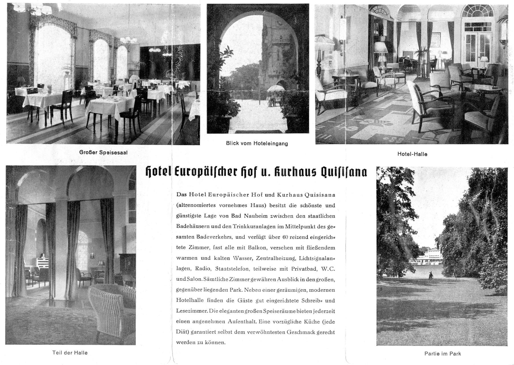 Hotelprospekt Europäischer Hof und Gästehaus Quisiana, Digitale Leihgabe von Marlies Zimmer ONLINE-MUSEUM BAD NAUHEIM