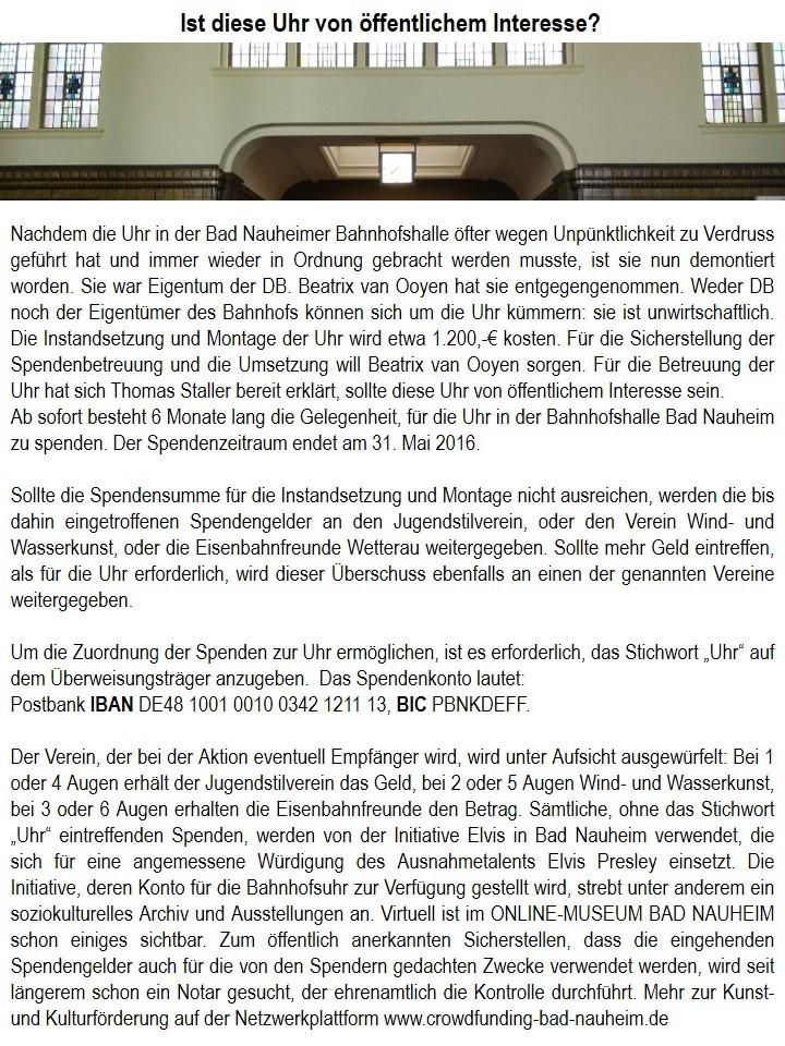 Spendenaufruf Uhr Bahnhofshalle Bad Nauheim: Ist diese Uhr von öffentlichem Interesse? - Sie ist ästhetischer und funktioneller Bestandteil des Bad Nauheimer Bahnhofs