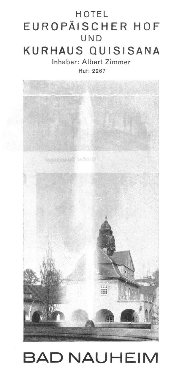 Hotelprospekt - Titelseite - Europäischer Hof und Gästehaus Quisiana, Digitale Leihgabe von Marlies Zimmer ONLINE-MUSEUM BAD NAUHEIM