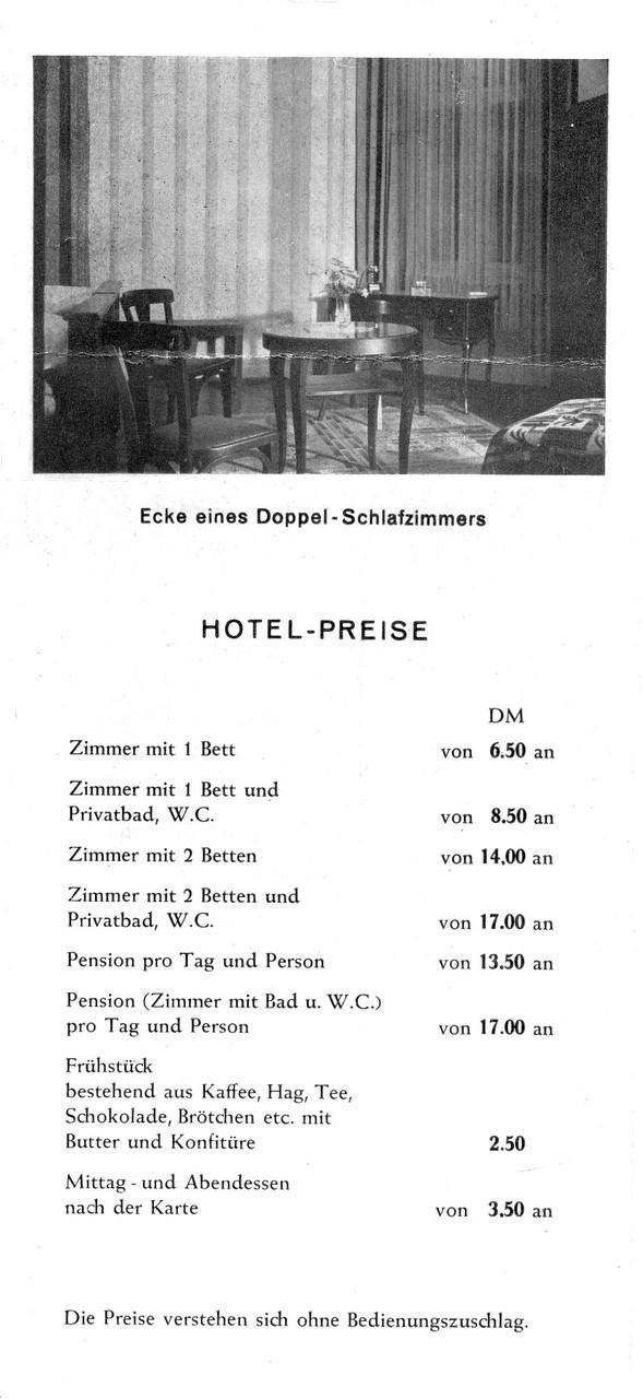 Hotelprospekt - Preisblatt - Europäischer Hof und Gästehaus Quisiana, Digitale Leihgabe von Marlies Zimmer ONLINE-MUSEUM BAD NAUHEIM
